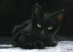 Black Cat pastel painting by myself ;-) art-ist-art.com
