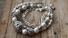 Bali Silver and Pearl Layered Bracelet