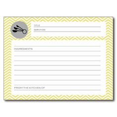 Bridal Shower Recipe Cards Yellow Gray Chevron Postcards