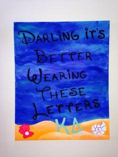 Kappa Delta big little crafts canvas board darling it's better wearing these letters KD