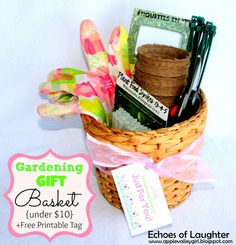 Make an adorable gardening gift basket for under $10 + cute free printable label.