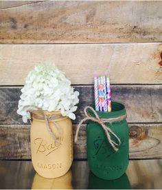 Baylor inspired green and gold mason jars