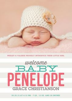 Welcome your little one with this simple and chic pink birth announcement.