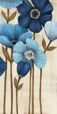 Tangletown Fine Art Fleurs Bleues II by Maja Fine Art Giclee Print on Gallery Wrap Canvas, 24 Art Floral, Images D'art, Contemporary Abstract Art, Wall Art Pictures, Stretched Canvas Prints, Home Wall Art, Watercolor Flowers, Watercolor Paper, Diy Painting