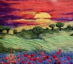 felted landscape picture cushion with embroidered detail TAFA: The Textil. Needle felted landscape picture cushion with embroidered detail TAFA: The Textil.Needle felted landscape picture cushion with embroidered detail TAFA: The Textil. Wet Felting, Needle Felting, Landscape Art Quilts, Nice Landscape, Spring Landscape, Felt Pictures, Thread Painting, Painting Art, Beautiful Textures