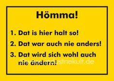 Hömma ! 1., 2., 3.  Ruhrpott Schild gelb