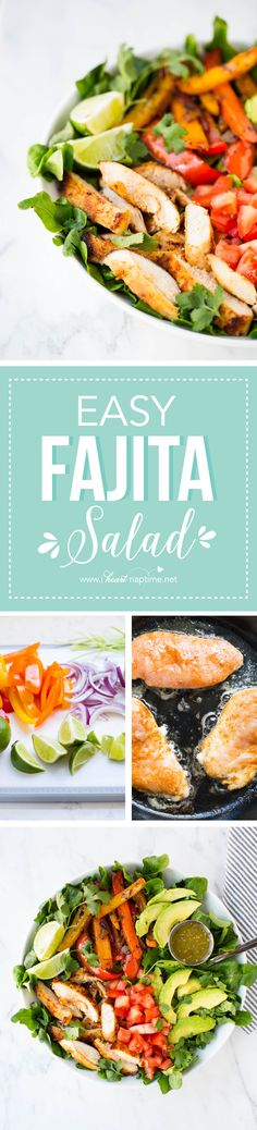 Fajita salad in 20 minutes or less? Flavorful chicken, veggies and green salsa - perfect for a quick dinner or lunch! Fajita Salad Recipe, Salad Recipes, Mexican Food Recipes, Dinner Recipes, Clean Eating, Healthy Eating, Cooking Recipes, Healthy Recipes, Healthy Salads