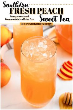 This from scratch, refreshing, Southern Fresh Peach Sweet Tea is just like iced southern peach sweet tea, but healthier with no sugar! It's made with fresh peaches, raspberry leaf tea & it's caffeine free! | Recipes to Nourish | easy peach sweet tea | easy fresh peach tea | southern peach tea | fresh peach drinks non alcoholic | peach recipes easy | summer drinks nonalcoholic | no sugar peach tea | honey sweetened iced tea | sweet tea with honey | honey peach tea | caffeine free peach iced tea Peach Drinks, Summer Drinks, Fun Drinks, Summertime Drinks, Refreshing Drinks, Healthy Drinks, Cold Drinks, Beverages, Herbal Iced Tea Recipe