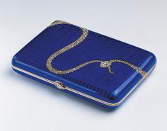 Faberge Cigarette case, Two-colour gold, guilloché enamel, brilliant and rose-cut diamonds; c. 1908