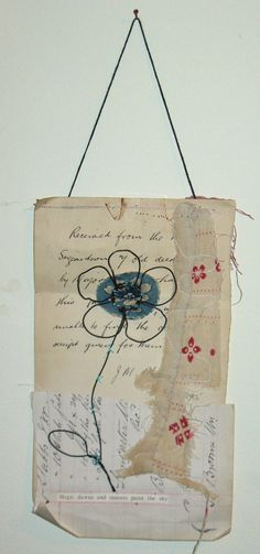 """Paper and Stitch Collage  - """"Magic Dawns"""" - an original one-off mixed media collage"""