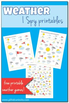 Free printable Weather I Spy game. Great for stimulating curiosity about the weather. I Spy games also support the development of visual discrimination skills and counting skills. Try this game for your next weather unit! Weather Activities For Kids, Preschool Weather, Kids Learning Activities, I Spy Games, Free Games, Preschool Printables, Free Printables, Weather Lessons, Montessori