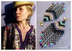 Bollywood style micro macrame earrings ! Special order, no more available. See more on my Etsy shop.  © Natacha Fayard