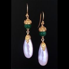 Zaffiro Jewelry Classic Collection  Earrings are set with Emerald beads and Tennessee River Pearls in granulated 22kt yellow gold with 18kt yellow gold french hooks.