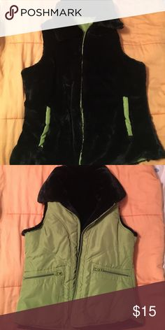 Fuzzy black and green vest (Reversible) One side entirely black and fuzzy, inside green coat-like material with pockets on both sides never worn classicsports Jackets & Coats Vests