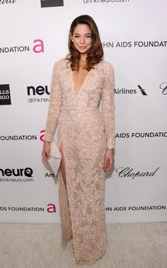 Analeigh Tipton: Analeigh Tipton picked a nude embellished Elie Saab gown for Elton John's AIDS Foundation soiree.