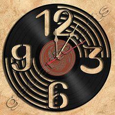 Wall Clock Vinyl Record Clock Upcycled Gift Idea by geoartcrafts, Record Wall Art, Vinyl Record Clock, Vinyl Records, Clock Art, Diy Clock, Wall Clocks, Vinyl Record Crafts, Vinyl Art, Unique Clocks