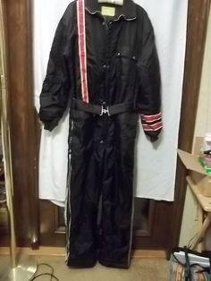 Snowmobile Suit Men's Vintage Black XL Red White Stripes Hood #EmbassySportswear