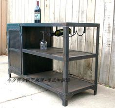 Original single American country wrought iron furniture red wine sideboard Bar cabinet to do the old industrial style