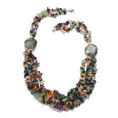 Multi Gemstone Bead Necklace (20 in) in Silvertone TGW 357.620 cts.