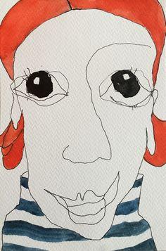 """I feel it comming"" painted on watercolor paper 300 m/g acidfree, find more on www.evakock.dk"