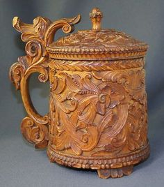 Gorgeous Antique -19th century Norwegian carved wooden tankard.