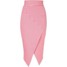 Jane Norman Pink Asymmetric Stripe Skirt (385 MXN) ❤ liked on Polyvore featuring skirts, bottoms, pink, pink pencil skirt, wrap skirt, pencil skirt, knee length pencil skirt and pink skirt