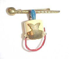 Bakelite band majorette hat & baton pin