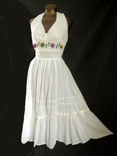 Vintage 70s Dress Boho Halter Sundress by LilBlackDressVintage, $40.00