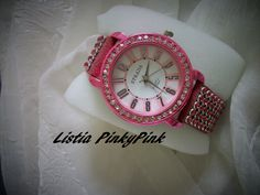 ★OH MY! PINK & WHITE CRYSTALS! *★ Austrian Crystal Accent Watch!