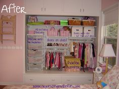 One Mom's journey to organize her son's and daughter's closets.  (Uses Elfa closet system).