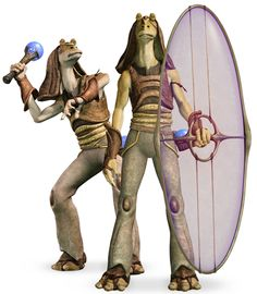 The Gungans are musical, sentient amphibian humanoids native to the planet of Naboo. Prior to the Invasion of Naboo, the Gungans were a largely isolationist society. They were able to combine machinery with biology. They lived in large bubble-like domes under water. Gungans had strong leg muscles for swimming, and were aided by their long fin-like ears. Their arms ended in four-fingered hands, and their feet had three stubby toes each. Females tended to be slightly smaller, with sleeker…