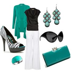 Ultra-Chic! LOVE the Aquamarine accesories. NEED the shoes and sunglasses!
