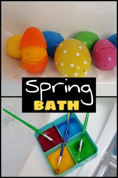 A fun, fancy bath at home for kids!  The bath is spring themed and a great sensory experience for kids.  From painting to floating eggs it is sure to keep little ones entertained and create memories.  #easter #easteractivities #springactivities #athomewithkids #fancybath #kids #sensoryactivities #sensoryfortoddlers