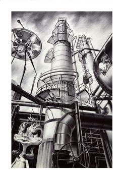 Factory 153 _ Ballpoint pen Illustration by injae Byun, via Behance