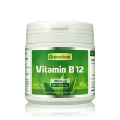 Greenfood Vitamin B12, Methylcobalamin, 1000µg, hochdosiert, 180 Tabletten - vegan