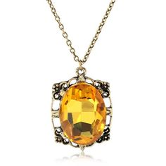Sale 18% (6.25$) - Vampire Diary Bonnie Yellow Gem Crystal Pendant Necklace Metal Chain