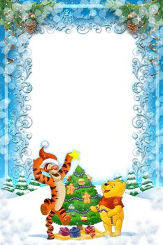 Winnie the Pooh and Tigger putting the star on the top of the Christmas tree