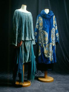 Pale Blue Dress, 1928 & Royal Blue Coat, 1920.  From Tirelli's Authentic Vintage Collection - not their Theatrical Costume Collection