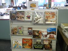 You can get some souper books at the library! (Apparently I need one on better puns. Bone Soup, Best Puns, Pinball, Display, Canning, Books, Floor Space, Libros, Billboard
