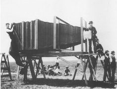 """""""In 1900, George Lawrence built the world's largest camera to take a photograph of the Alton Limited locomotive. The camera weighed 1400 pounds (640 kg) and used a 4.5′ × 8′ glass-plate negative. """""""