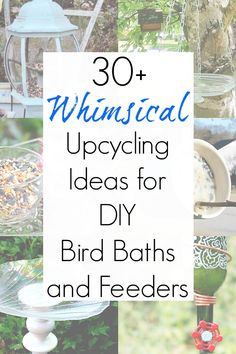 Upcycled bird feeders and bird baths are a fun and easy way to add whimsical charm to your yard and garden. And these bird craft ideas use items from thrift stores and yard sales to keep the cost low and the whimsy high! #birdfeederideas #birdfeeder #DIYbirdfeeder #upcycledbirdfeeder #upcycledbirdfeeders #repurposedbirdfeeder #repurposedbirdfeeders #birdbaths #DIYbirdbath #upcycledbirdbaths #repurposedbirdbath Best Bird Feeders, Garden Bird Feeders, Diy Bird Feeder, Garden Whimsy, Garden Art, Garden Projects, Diy Projects, Garden Ideas, Recycling Projects