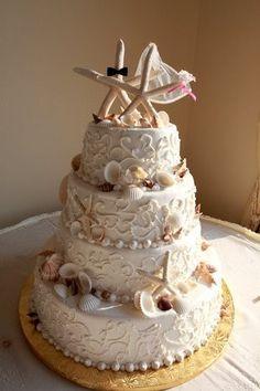 Starfish wedding cake toppers with bride and groom theme. Beautiful Cakes, Amazing Cakes, Starfish Cake, Seashell Cake, Super Torte, Beach Cakes, Nautical Wedding, Seashell Wedding, Nautical Cake