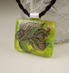 Angelfish Necklace Fish Pendant Dichroic by GalaxyGlassStudio