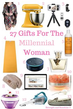 27 Gifts For The Millennial Woman | Strength and Sunshine @RebeccaGF666 27 Gifts for the Millennial Woman in your life! Something for everyone, from practical to fun, cozy, and delicious! You can be sure she will love these gift ideas and will actually use them!