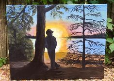 Sunrise is captured over the calm cool waters of Sardis Lake in Mississippi. A young man is painted in silhouette leaning against a large pine tree gazing on the serene view. I did this painting as a special surprise for a womans son who visits Sardis Lake as a place to get away. She let me be creative with the painting in order to convey a calm quiet setting at Sardis Lake. I can recreate this painting for you just send me a massage or go ahead and purchase. 11x14 gallery canvas Other sizes…