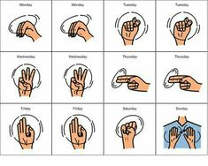 sign language for days of the week sign wall Sign Language Colors, Simple Sign Language, Sign Language Chart, Sign Language Phrases, Sms Language, Sign Language Alphabet, British Sign Language, Learn Sign Language, English Sign Language
