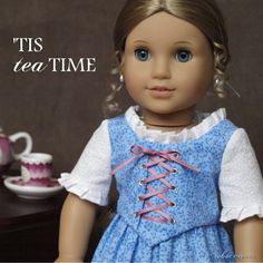 """The """" 'Tis Tea Time """" Colonial 2-piece dress made to fit 18"""" American Girl Dolls."""