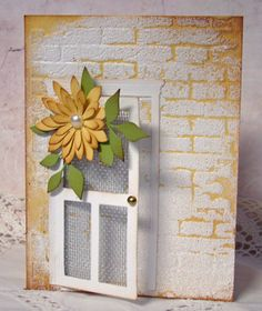 Is the brick background an embossing folder? Screen Door - Poppy Stamps - brick wall is a Tim Holtz embossing folder Homemade Greeting Cards, Greeting Cards Handmade, Homemade Cards, Cool Cards, Diy Cards, Memory Box Cards, Window Cards, Embossed Cards, Card Tutorials