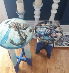 Decopage Furniture, Hand Painted Furniture, Refurbished Furniture, Repurposed Furniture, Furniture Makeover, Cool Furniture, Annie Sloan Furniture, Indoor Crafts, Painted Stools