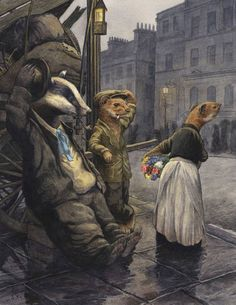 Chris Dunn Illustration/Fine Art: ~ 'Good Evening M'lady'~ The Lamplighter Weasel And Rag And Bone Badger. Fantasy Kunst, Fantasy Art, Chris Dunn, Arte Horror, Children's Book Illustration, Animal Illustrations, Digital Illustration, Illustrations Posters, Illustrators